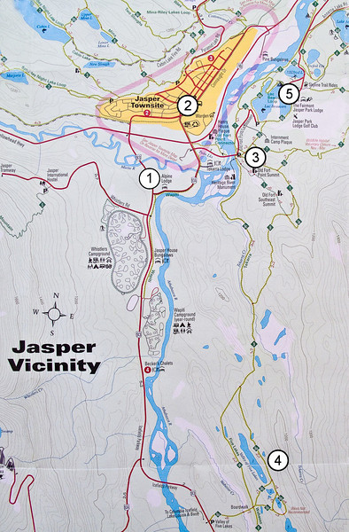 This map sets the stage for the light-hiking we did on two of our days in the area: (1) Alpine Village; (2) the Jasper Townsite; (3) Old Fort Point; (4) Valley of the Five Lakes; (5) Fairmont Jasper Park Lodge.