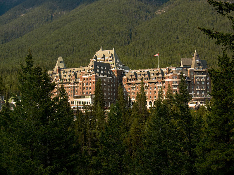 Banff Townsite: And when the sun shines, the Banff Springs Hotel shines with it.