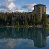 A glimpse (or is it two?) of Chateau Lake Louise from the boardwalk.
