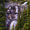 Here's a closer look at Bridal Veil Falls.  The waterfall is born of Lake Agnes.