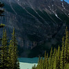 The incredible milky-green color of Lake Louise from the Lake Agnes Trail.
