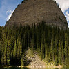 Mirror Lake is at about the 2.5-kilometer mark on the Lake Agnes Trail.  As we catch our breath, we enjoy the sight of Big Beehive rising up behind the lake.