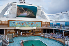A gigantic screen above the pool on the Crown Princess