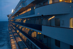 The ship at dusk as seen from the bridge