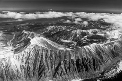 craggy mountains from plane B&W