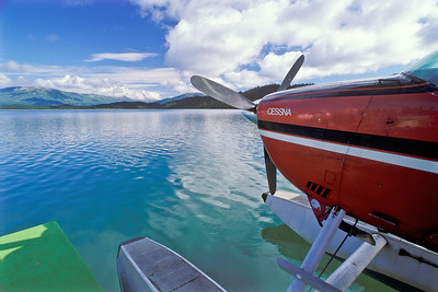Cessna on lake