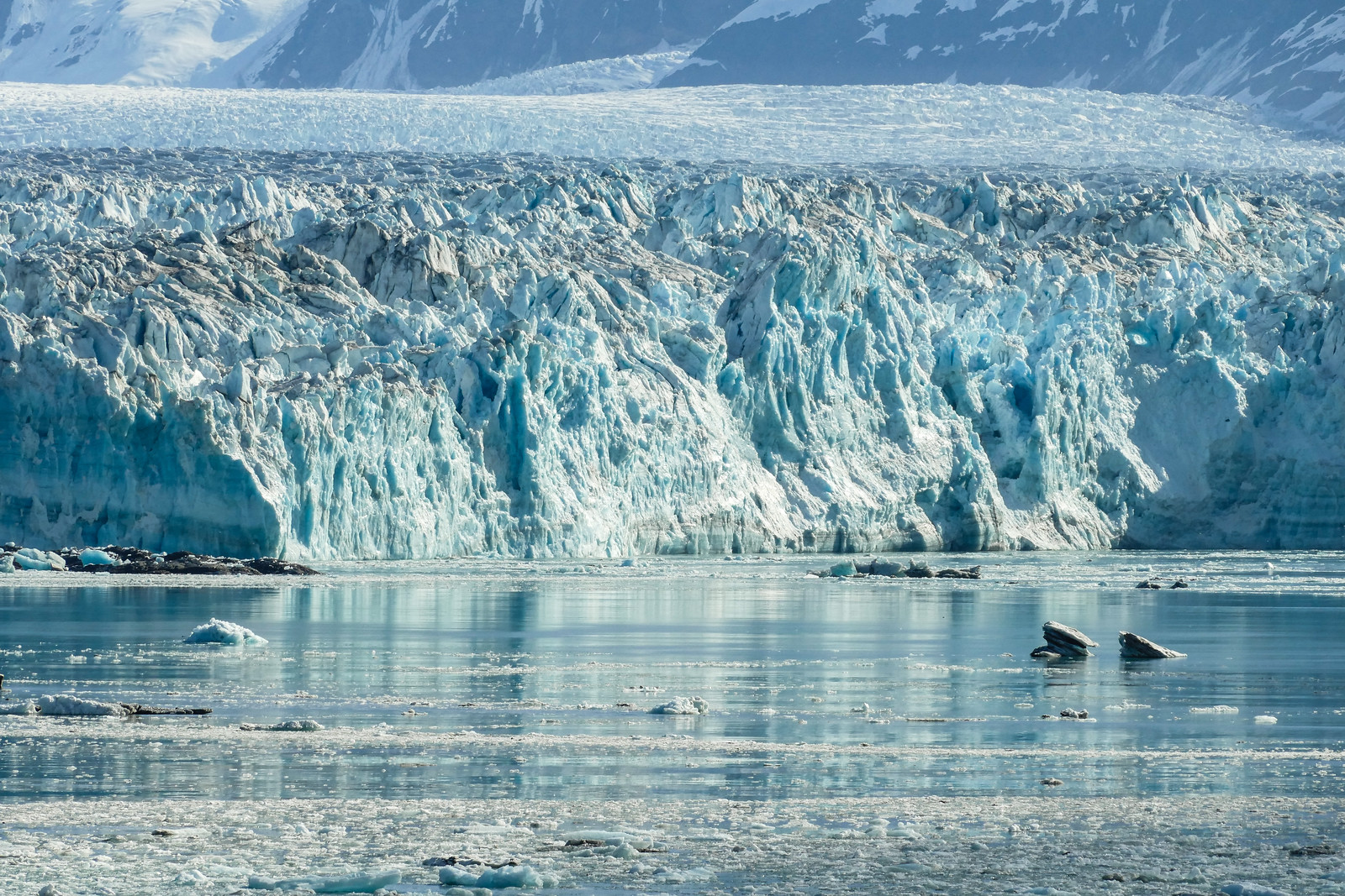 A zoomed in view of a glaciers jagged ice.