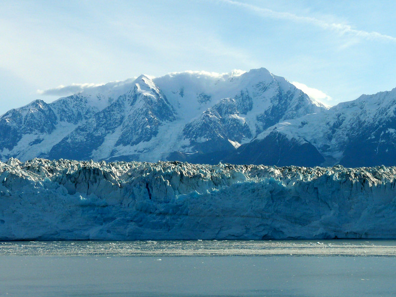 Sunlight shines on Hubbard Glacier