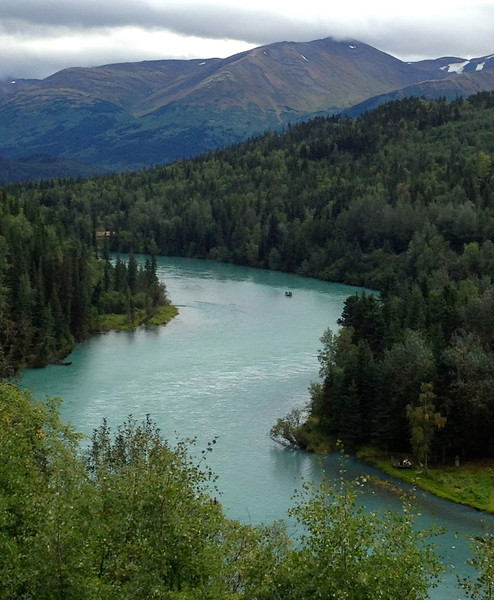 Kenai River is green from glacier silt. It's surrounded by green forested mountains on Alaska's Kenai Peninsula.