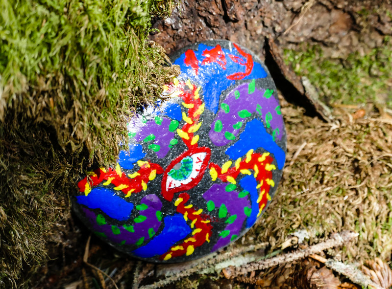 A painted rock hidden on the trail at Kodiak Island.