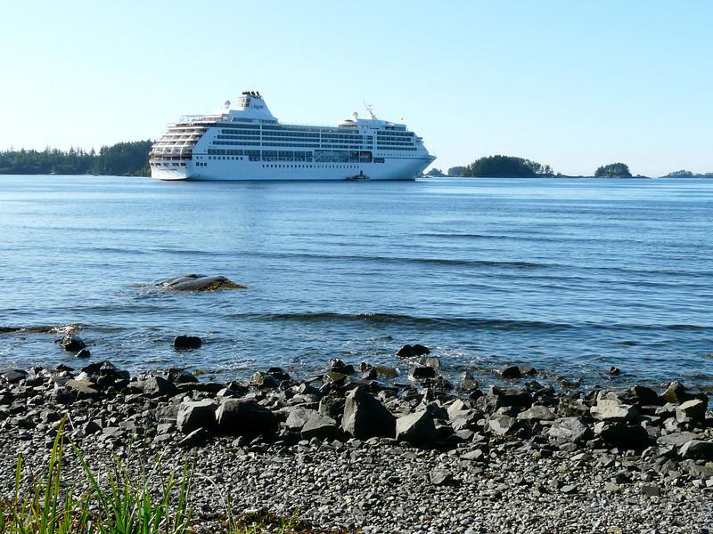Regent Seven Seas Mariner anchored at Sitka, Alaska