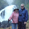 Alan and Donna Hull at Cascade Waterfall in Thomas Bay, Alaska