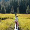 Donna Hull hiking on Three Lakes Loop Trail in Southeast Alaska