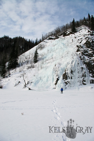 Lang in front of an unnamed climb, Caribou Creek