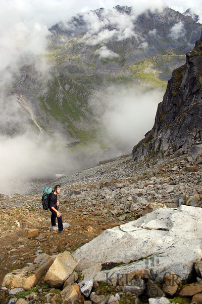 And then it was back up the mountainside. Dane stands near the top of the scree section.