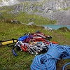 I finally arrived back at the tent feeling great! I pulled out all my gear and repacked my tent. I brought all this gear with me and pulled even the rope and slings up the peak, although I didn't get to use them.