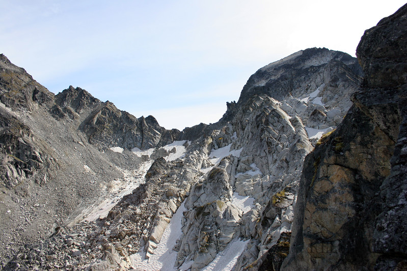 On the right is the peak which I came down. I came down the backside here and it was much more pleasant then the face I had climbed up. The rock is also quite sticky.