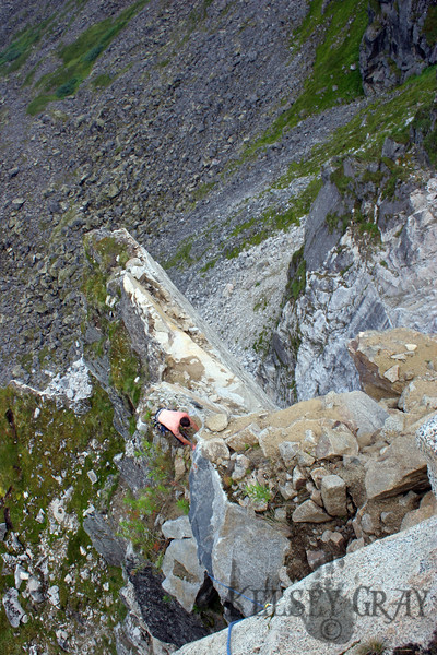 We all followed and here Richard is crawling across the mine field. Boulders were pearched ready to go at any moment.