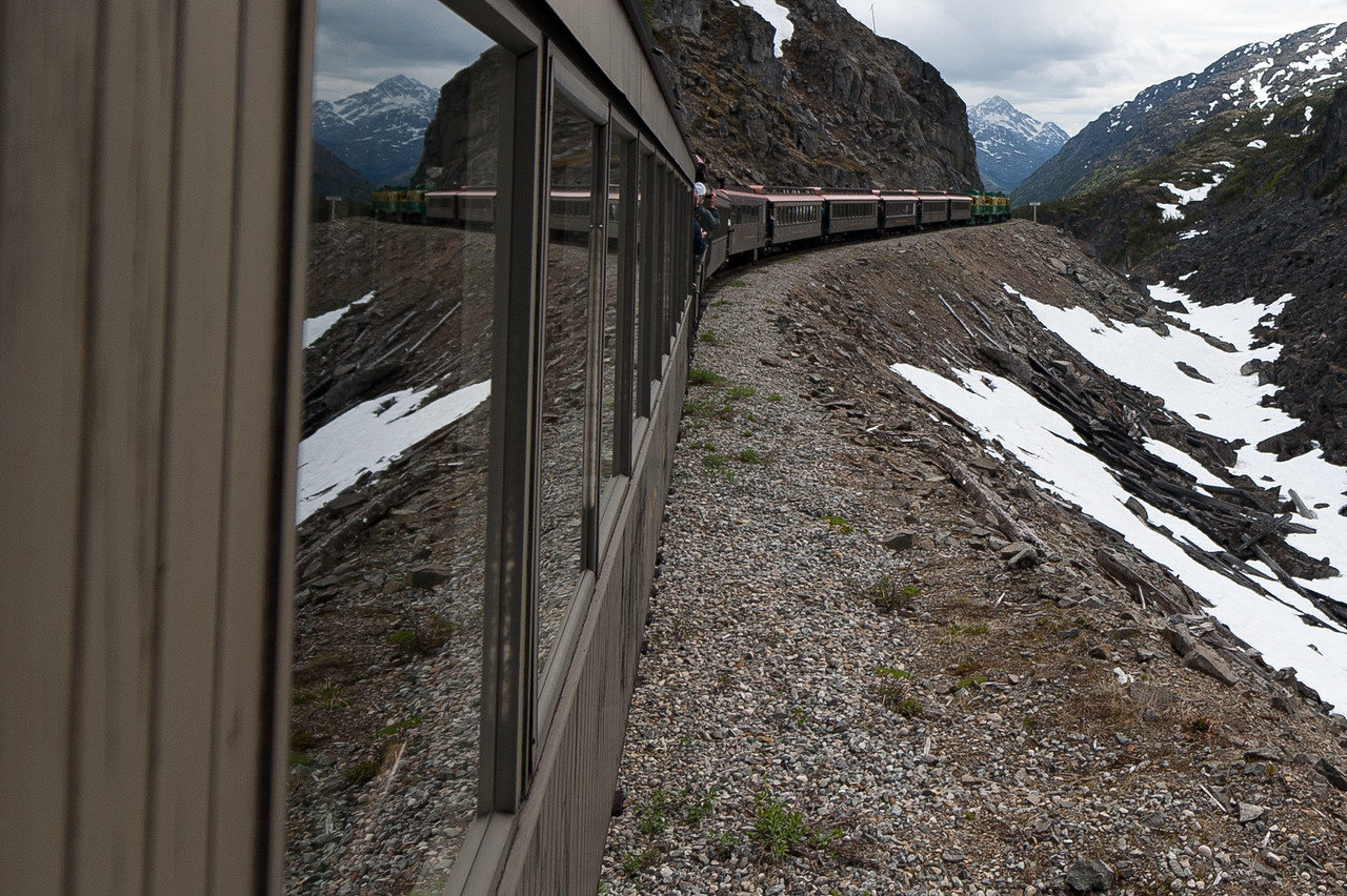White Pass steam locomotive rounds a curve in Alaska