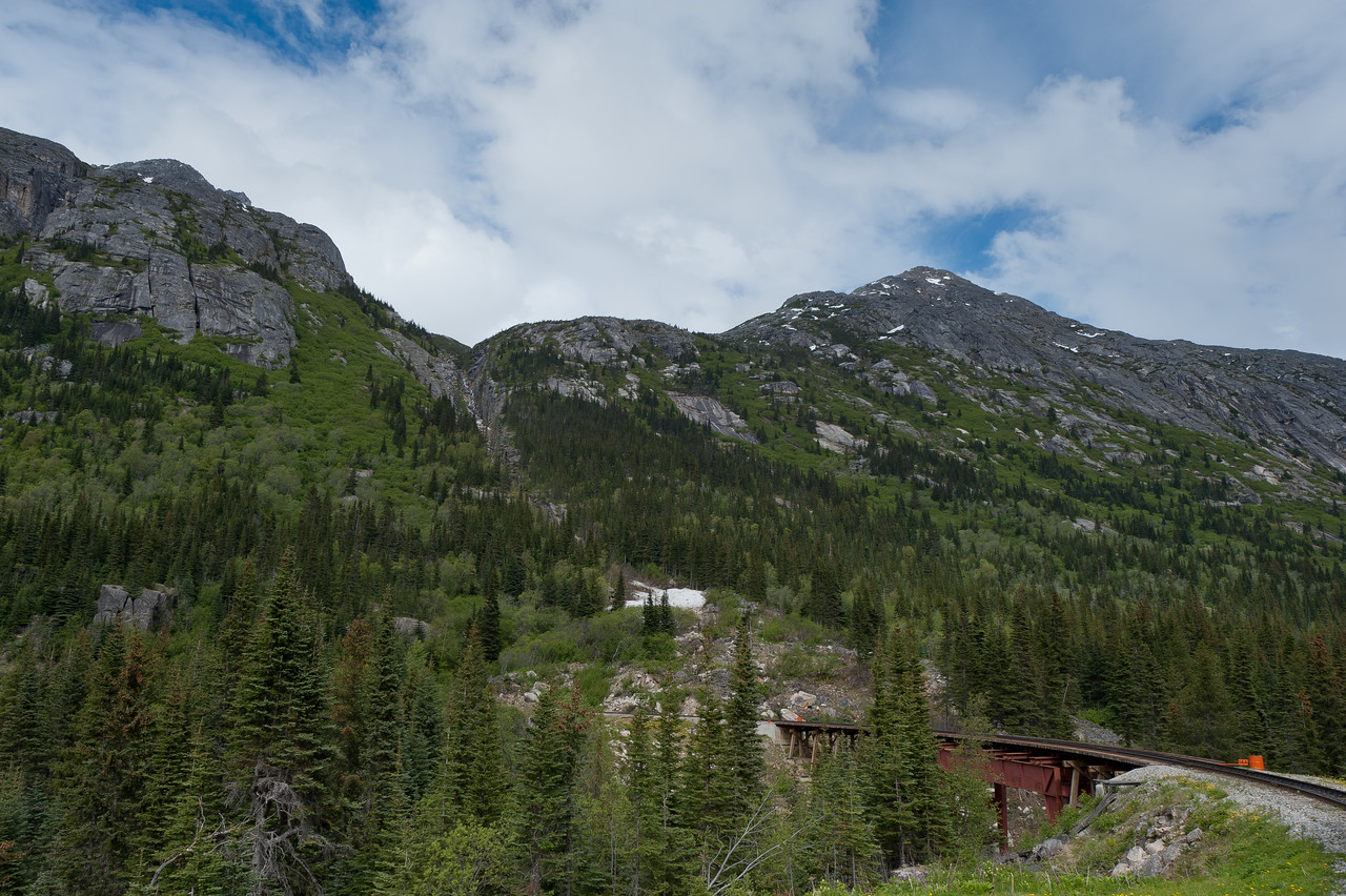 View from inside the White Pass Train in Skagway, Alaska