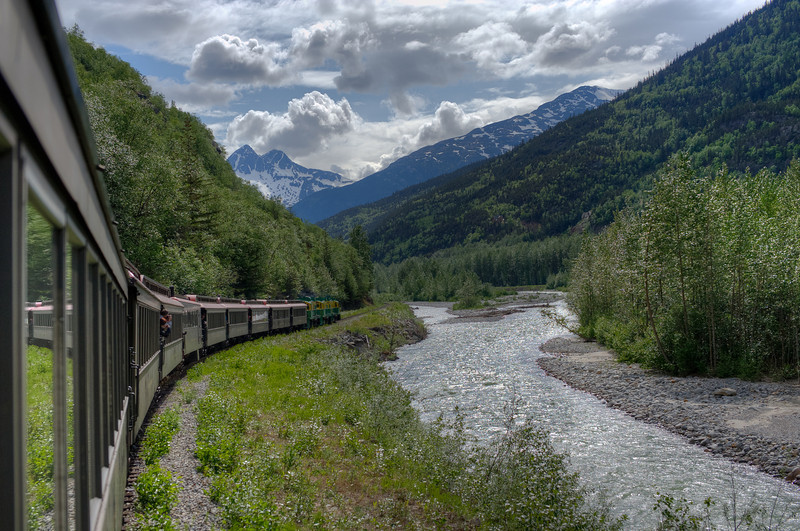 The Skagway River along the White Pass Train route in Alaska