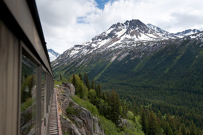 View of snow-covered peak from White Pass Train in Skagway, Alaska