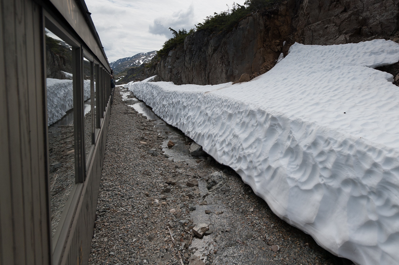 Thick snow along the White Pass Train route in Alaska