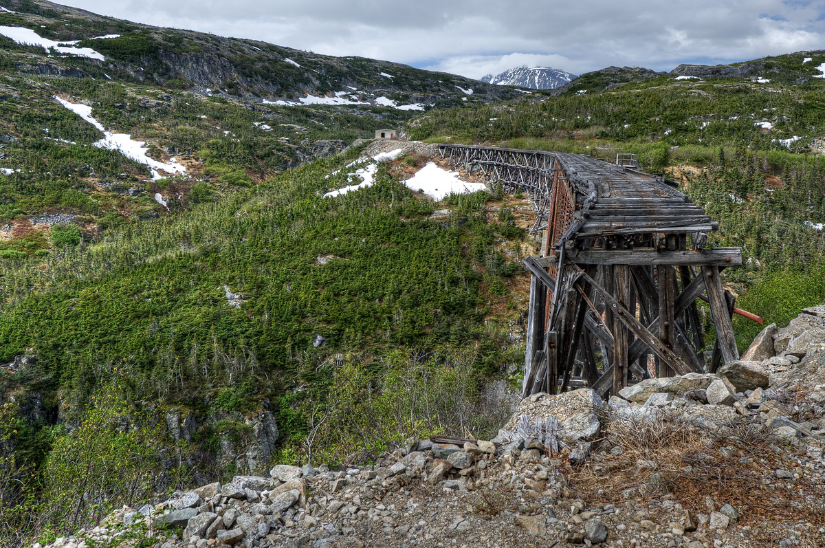 An abandoned railroad bridge near Skagway, Alaska