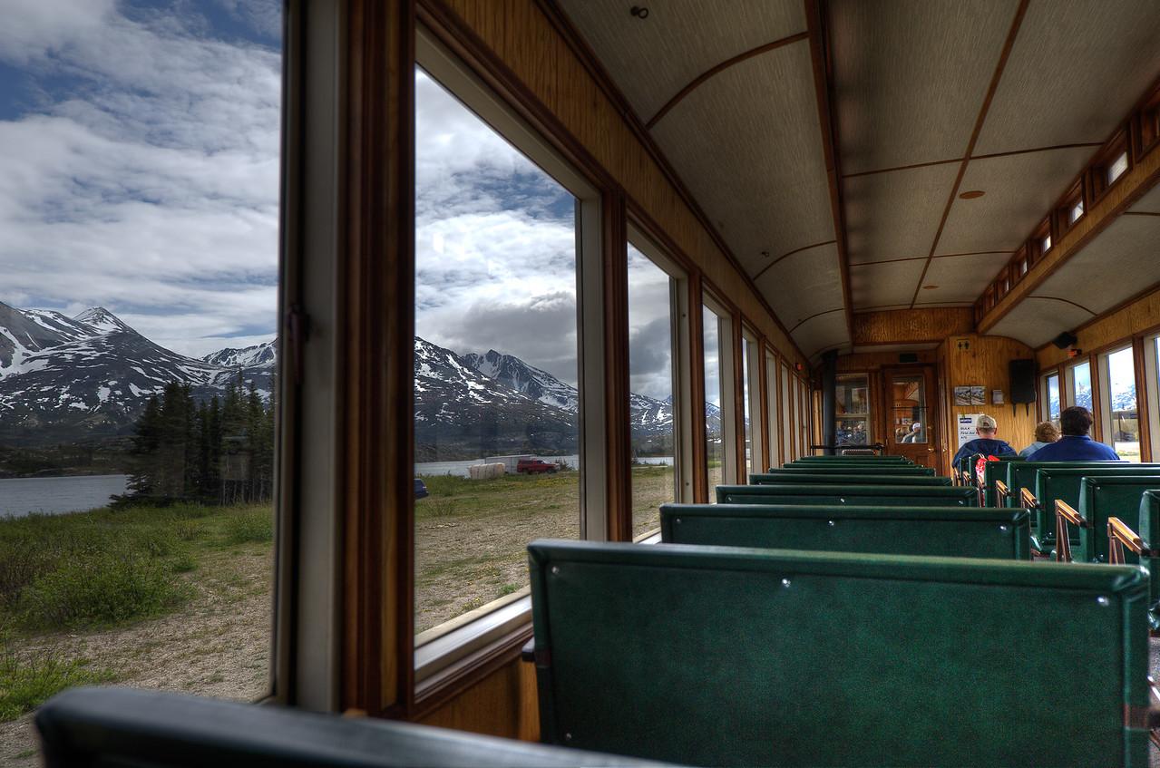 Inside the White Pass Train in Alaska