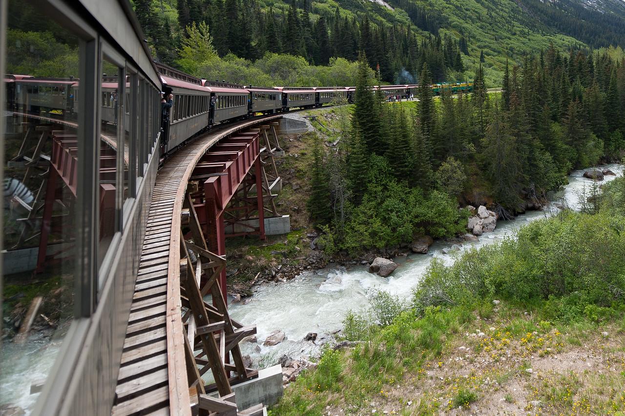 The White Pass Train passes over a bridge in Skagway, Alaska