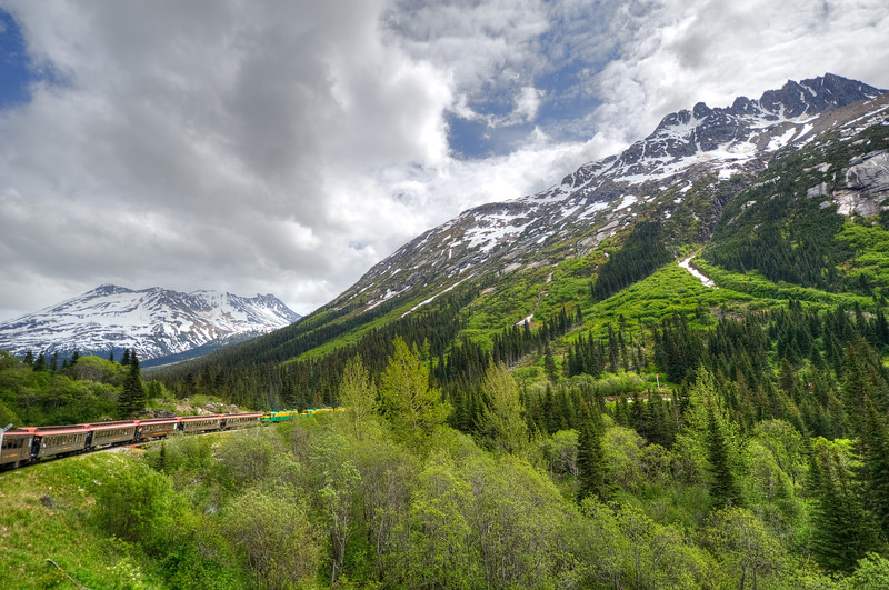 The White Pass train rounds a curve in Skagway, Alaska