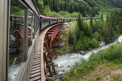 The White Pass Train passes over a bridge in Skagway, Alaska