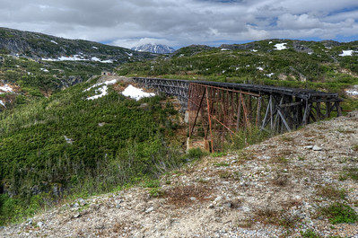 An old bridge along the White Pass Train station route in Alaska