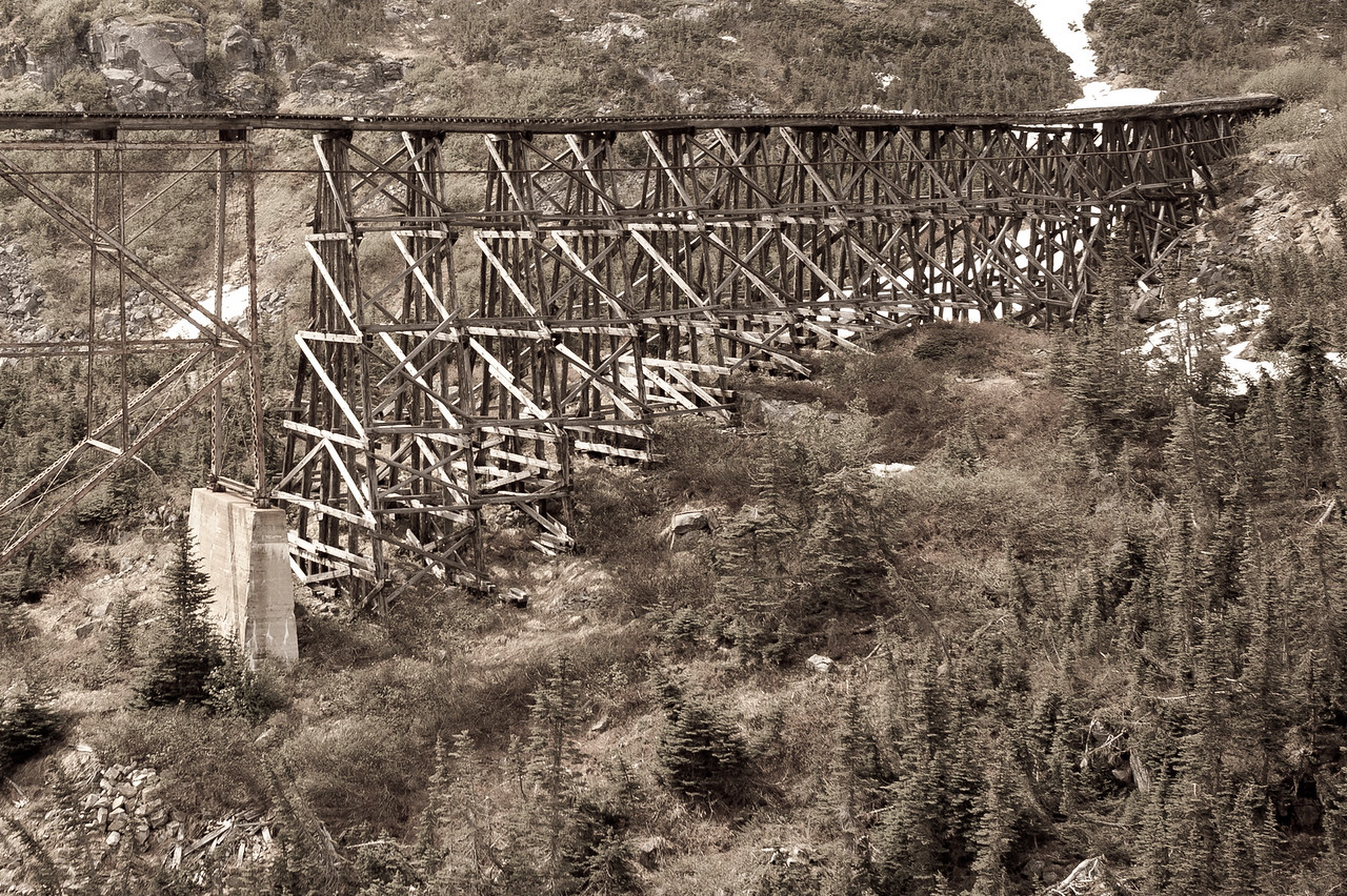 An old bridge as seen from the White Pass Train route in Alaska