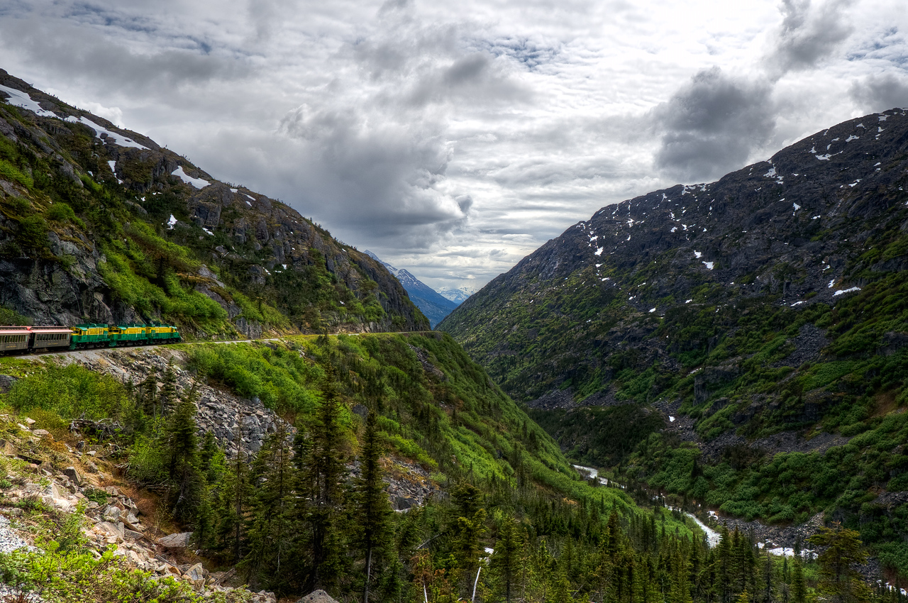 White Pass Train route along a cliff in Alaska