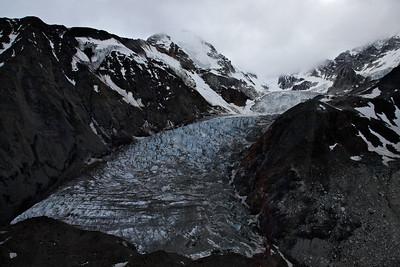 Denali, Alaska Looking up the glacial valley at the glacier flowing into Yanert Valley.