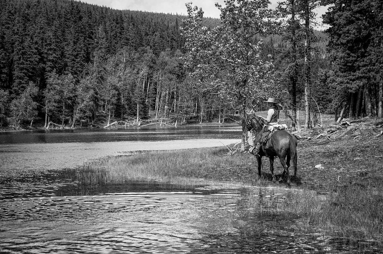 Man on horseback in Anchor D Ranch, Alberta, Canada