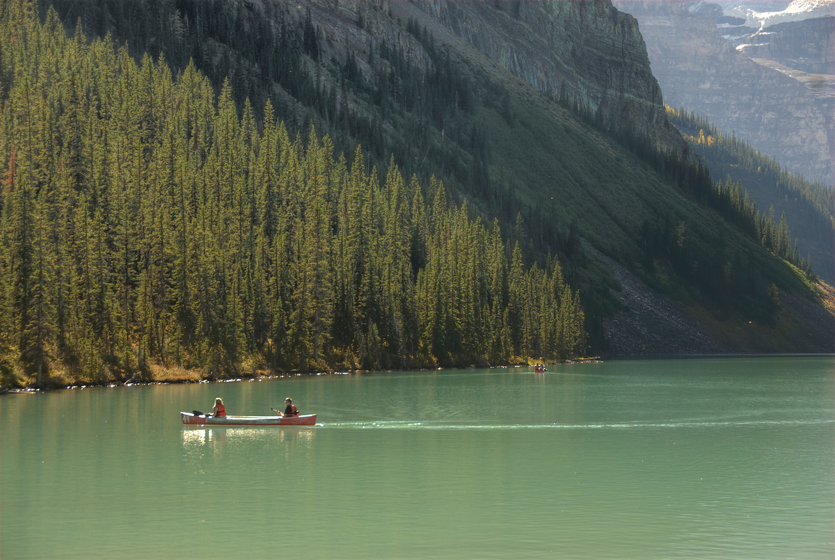 Canoeists on Lake Louise, Banff National Park, Alberta