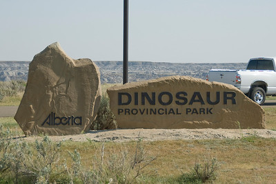 The sign outside Dinosaur Provincial Park in Alberta, Canada