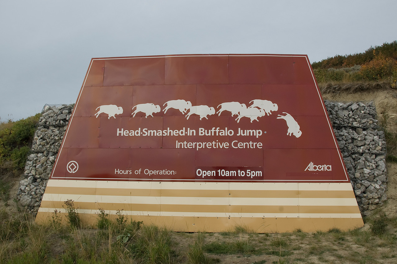 Sign at Head-Smashed-In Buffalo Jump Interpretive Centre in Alberta, Canada