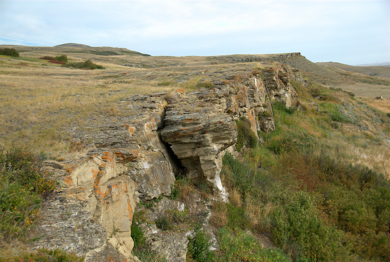 Rocky cliffs of Head-Smashed-In Buffalo Jump in Alberta, Canada