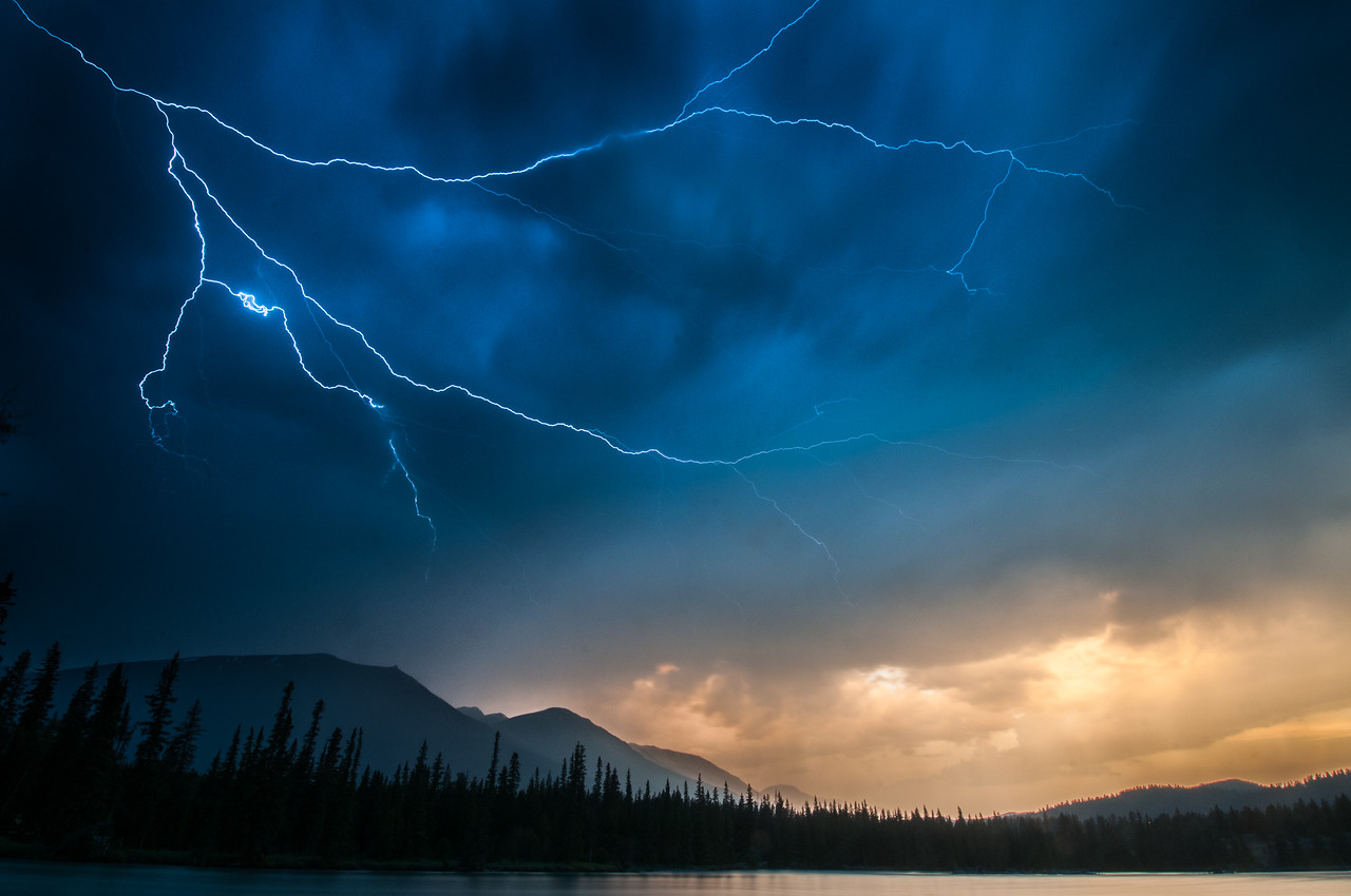 Lightning over Jasper National Park - Alberta, Canada