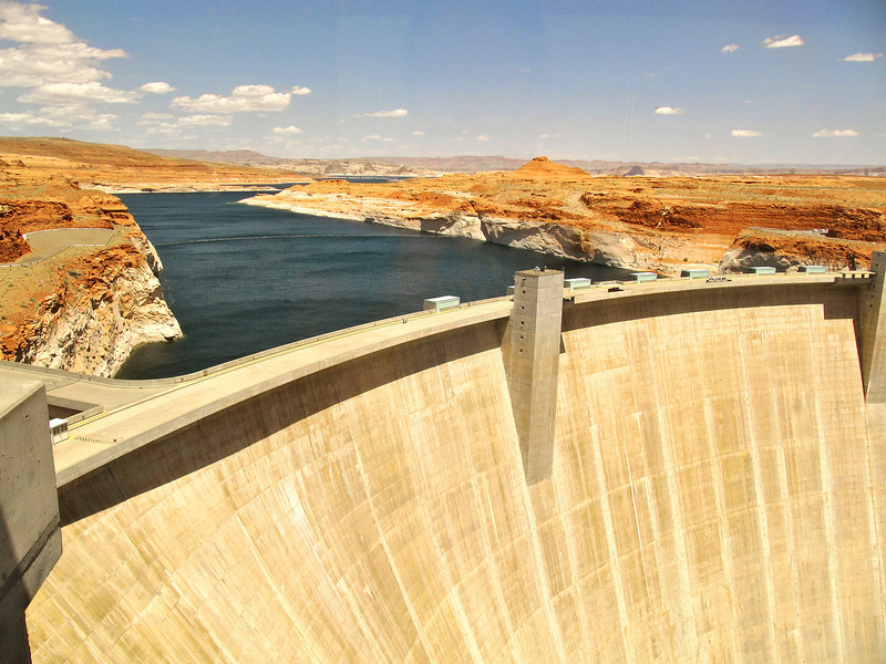 Glen Canyon Dam with Lake Powell behind it.