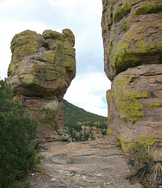Hiking on Echo Canyon Loop in Chiricahua National Monument.