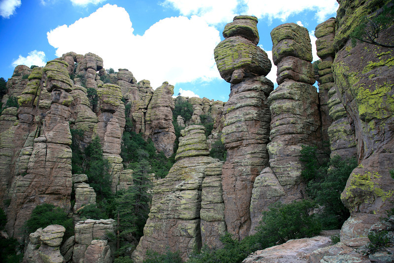 Gray rhyolite formations are stacked onto one another making stone columns in Chiricahua National Monument.