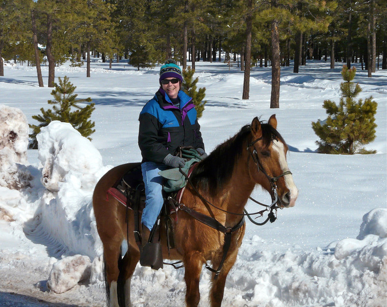 boomer woman on brown horse in the snow