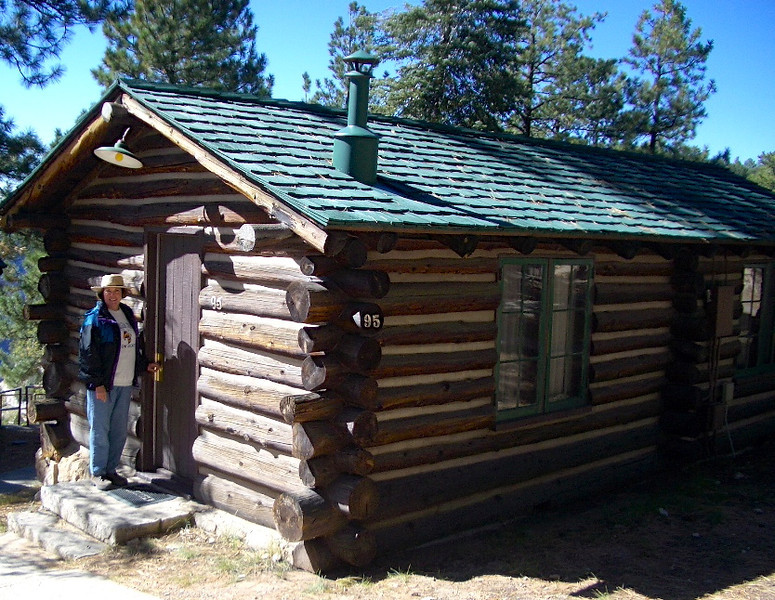 woman standing in front of a rustic log cabin