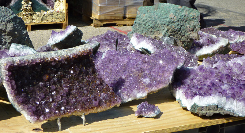 Amethyst geodes at the Tucson Gem and Mineral Show