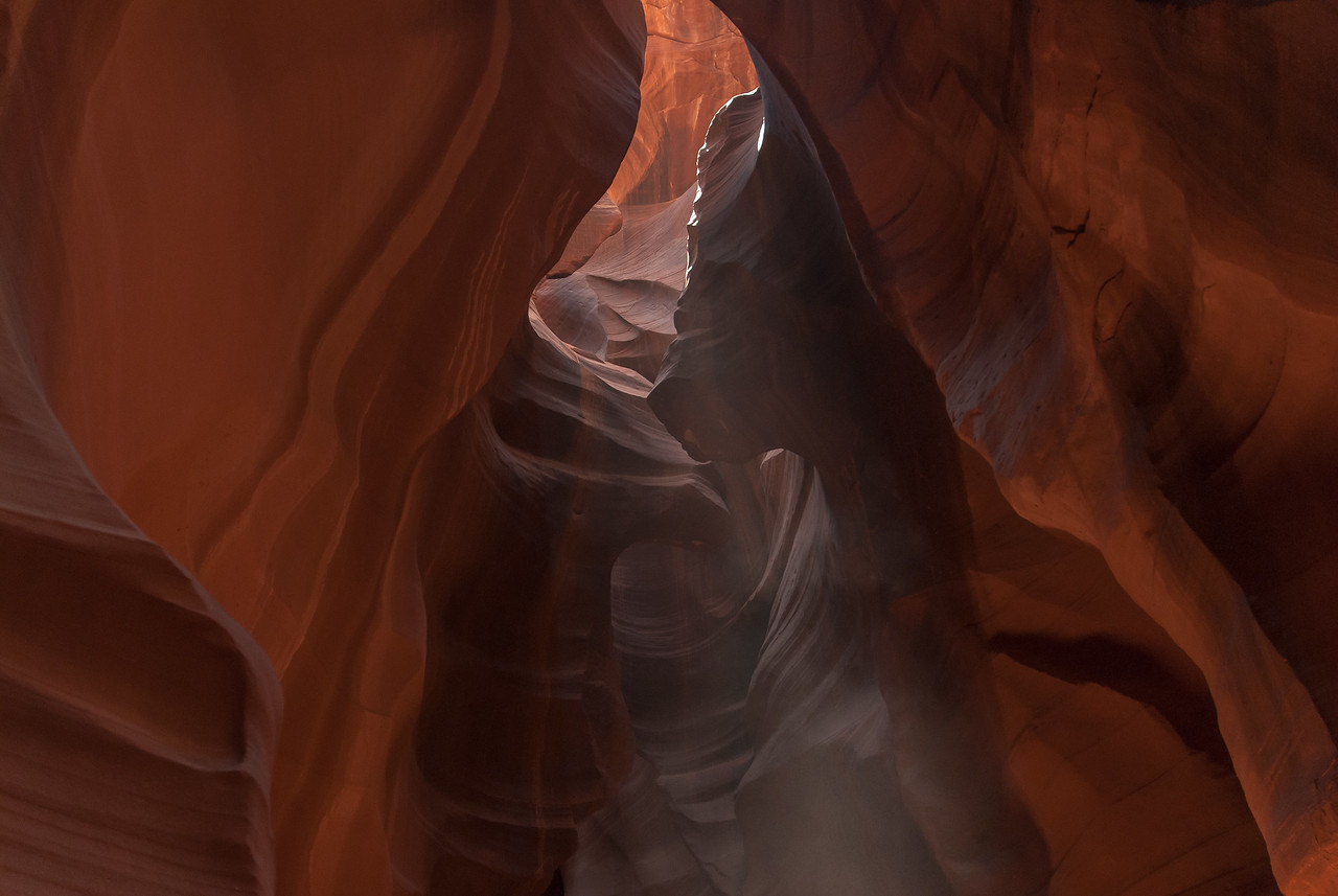 Beams of light entering the Antelope Canyon in Arizona, USA