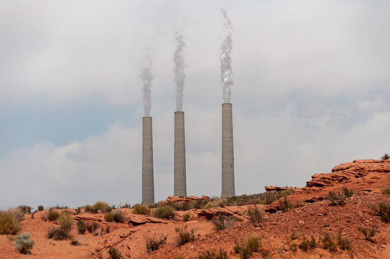Navajo coal-burning power plant near the entrance to Antelope Canyon in Arizona,